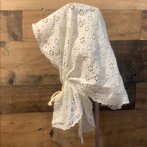 Vintage White Eyelet Night Cap Sleeping Bonnet